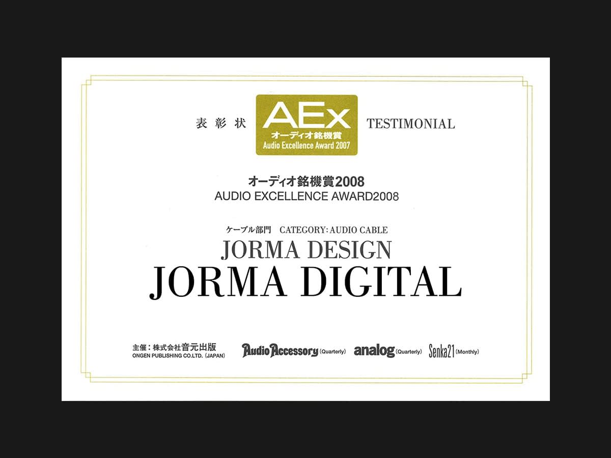 Jorma Digital - Audio Excellence 2008 Award